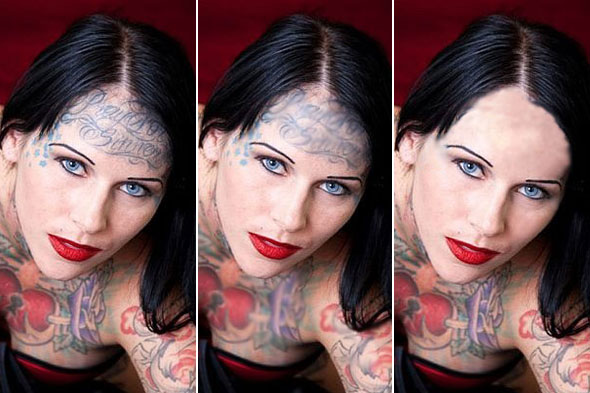 Michelle Bombshell McGee with her current face tattoos (left),