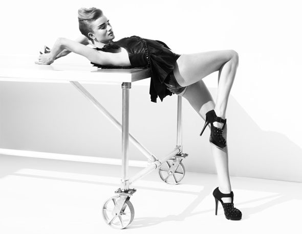 Rosie Huntington-Whiteley Thomas Wylde ad campaign leather top panties table