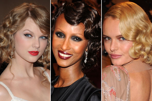 Taylor Swift, Iman, and Kate Bosworth work waves at the 2010 Met Costume