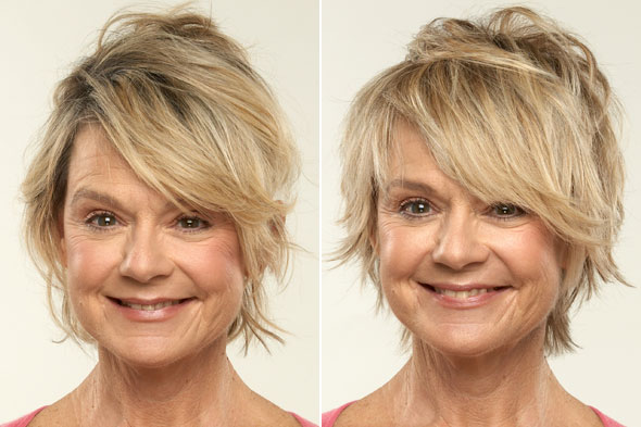 Holgie, before and after her Perfect Haircut for Your Face Shape makeover.