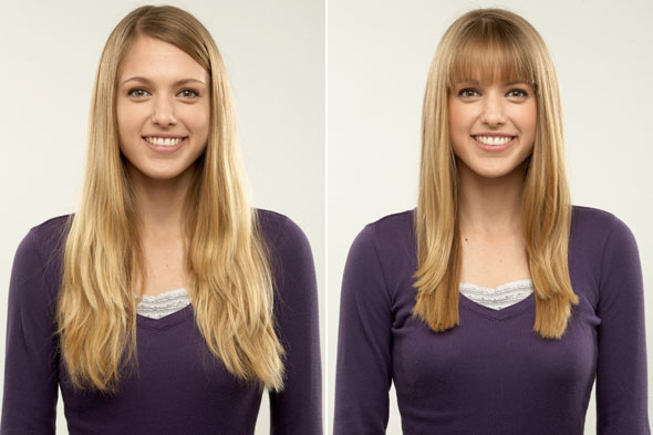 Long, straight hair can seem like a hair don't for a long face but it