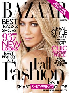 Harpers Bazaar cover with Jennifer Aniston