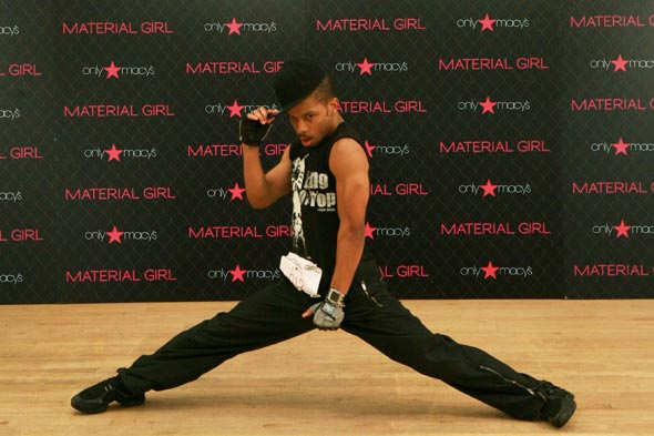 Madonna Material Girl launch dance competition guy doing a split