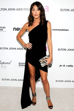 Tamara Mellon 18th Annual Elton John AIDS Foundation Academy Award Party one shoulder black dress