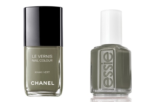 Chanel Le Vernis in Khaki Vert Essie Nail Polish in Sew Psyched