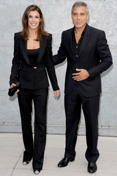 George Clooney Elisabetta Canalis matching Giorgio Armani suits