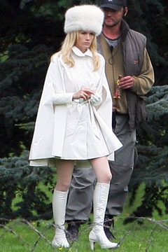 January Jones white outfit fur hat emma frost x-men