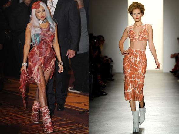 lady gaga meat dress images. Lady Gaga meat dress 2010 VMAs