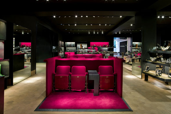 Shoe department at Selfridges pink couches