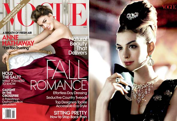 Anne Hathaway red Oscar de la Renta gown Vogue November 2010 cover Miu Miu dress