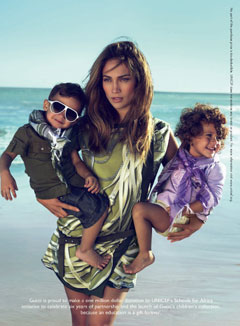 Jennifer Lopez Gucci children's wear ad twins beach