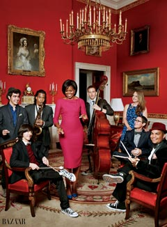 Michelle Obama Harpers Bazaar November 2010 raspberry L'Wren Scott dress