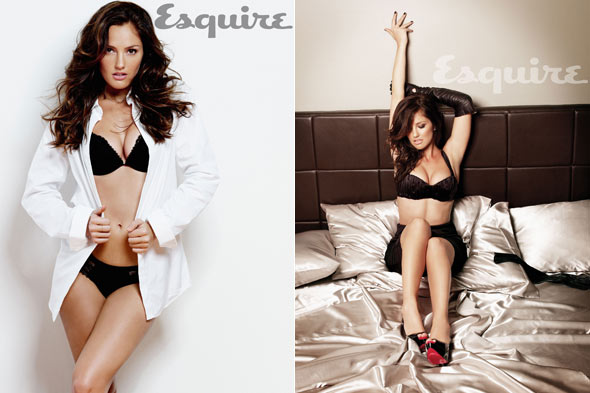 Minka Kelly Esquire sexiest woman alive black lace lingerie white button-up shirt bra panties bed