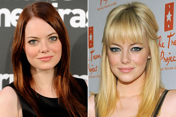 emma stone hair color. Emma Stone goes from red to