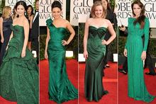The girls go green with envy on the Golden Globes red carpet