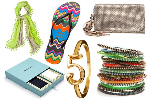 From top left, close wise: Target Calypso St. Barth for Target scarf, Missoni (hearts) Havaianas flip flops, Nanette Lepore Woven metallic lambskin clutch, MZ Wallace