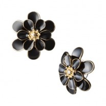Black Gold Enamel Flower Stud