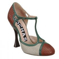 ROCHAS Tri-Color T-Strap Pump