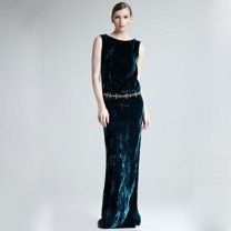 Oscar de la Renta Crushed Velvet Side-Slit Gown