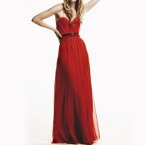 Reddoll Scarlet Silk Hand Gathered Bustier Gown