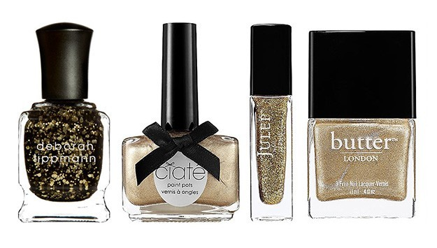 Gold, Glittery Polishes