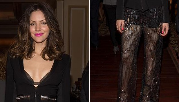 Katharine McPhee's Fashion Risk: Beaded Sheer Pants
