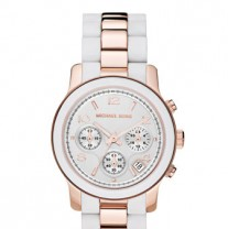 Michael Kors White and Rose Gold Two-Tone Silicone Watch
