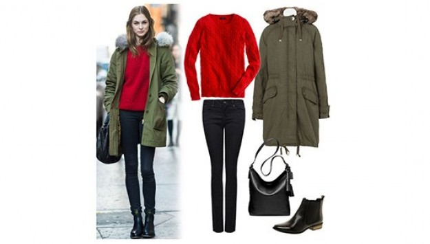 Let This Street Styler Give You The Gift of Chic Red + Green