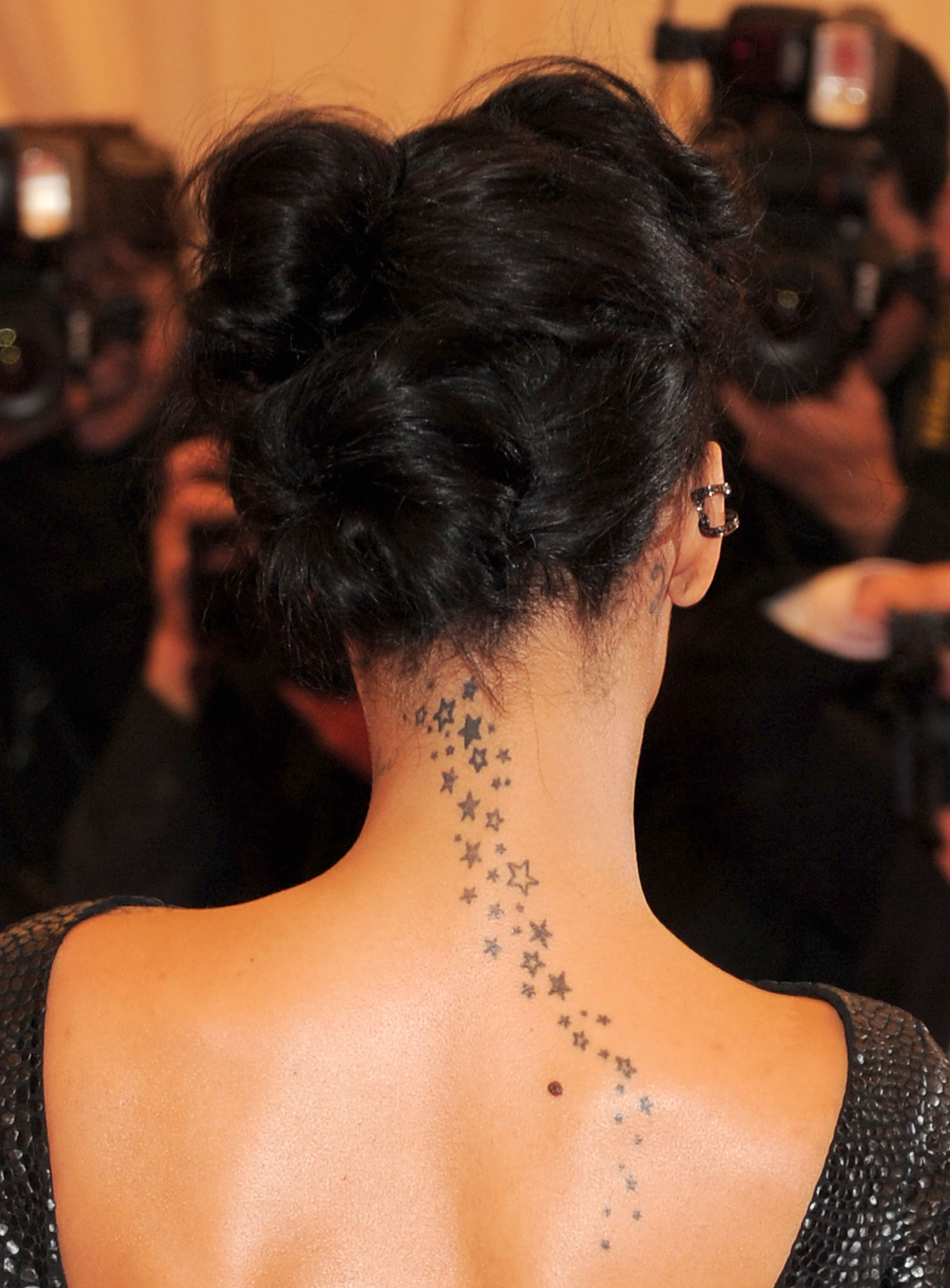 Stars neck tattoo for Back of neck tattoos small