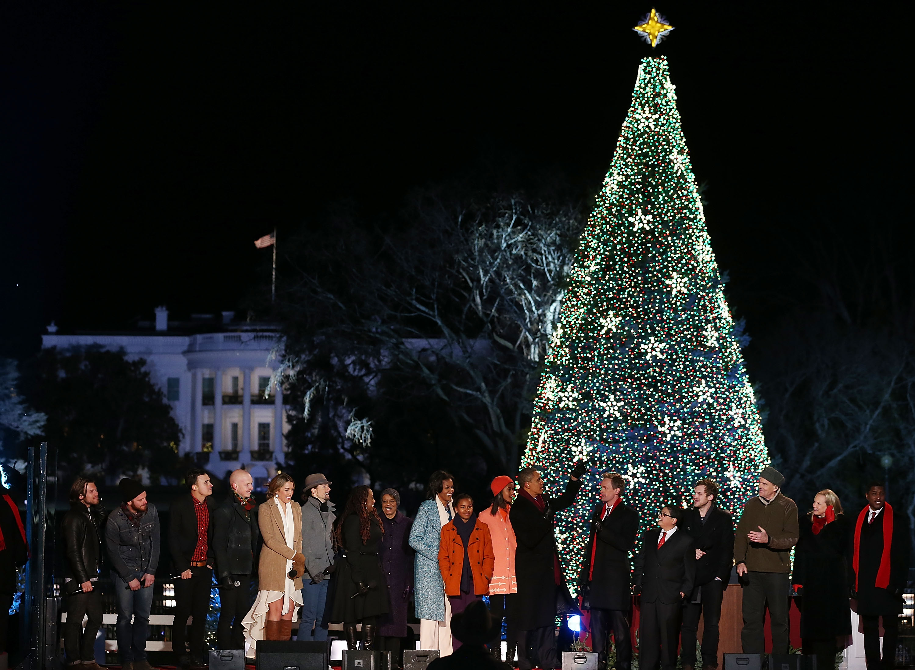 Obama Family Lights the White House Christmas Tree