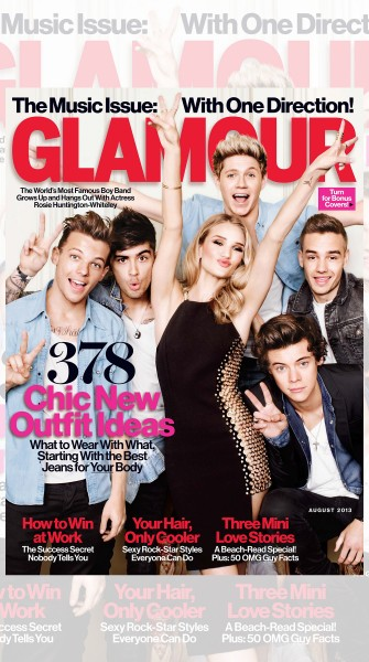 One Direction and Rosie Huntington-Whiteley Cover Glamour's August Issue