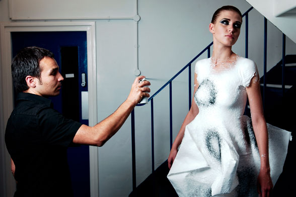 And the latest in weird fashion news... clothing from a spray can?