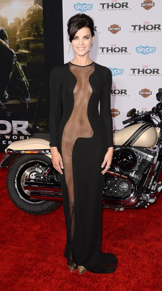 Is this the most revealing dress ever? Jaimie Alexander bares it all at the Hollywood premiere of 'Thor: The Dark World'
