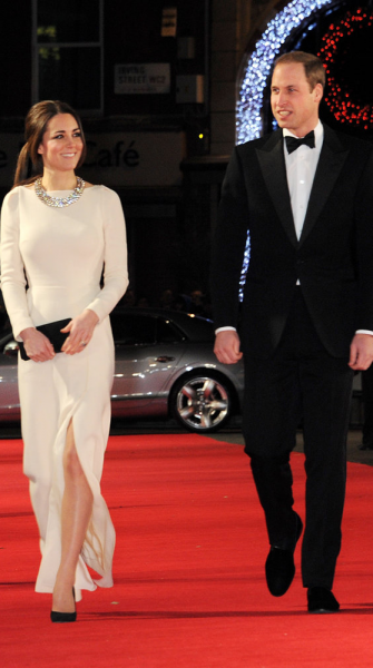 The Duchess of Cambridge shows off some major sparkle (and leg!) on the red carpet
