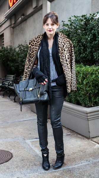 Stay warm in all black and a chic leopard-print coat
