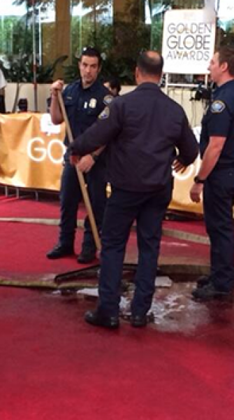 Will the stars swim down the red carpet? Pipe bursts at Golden Globes