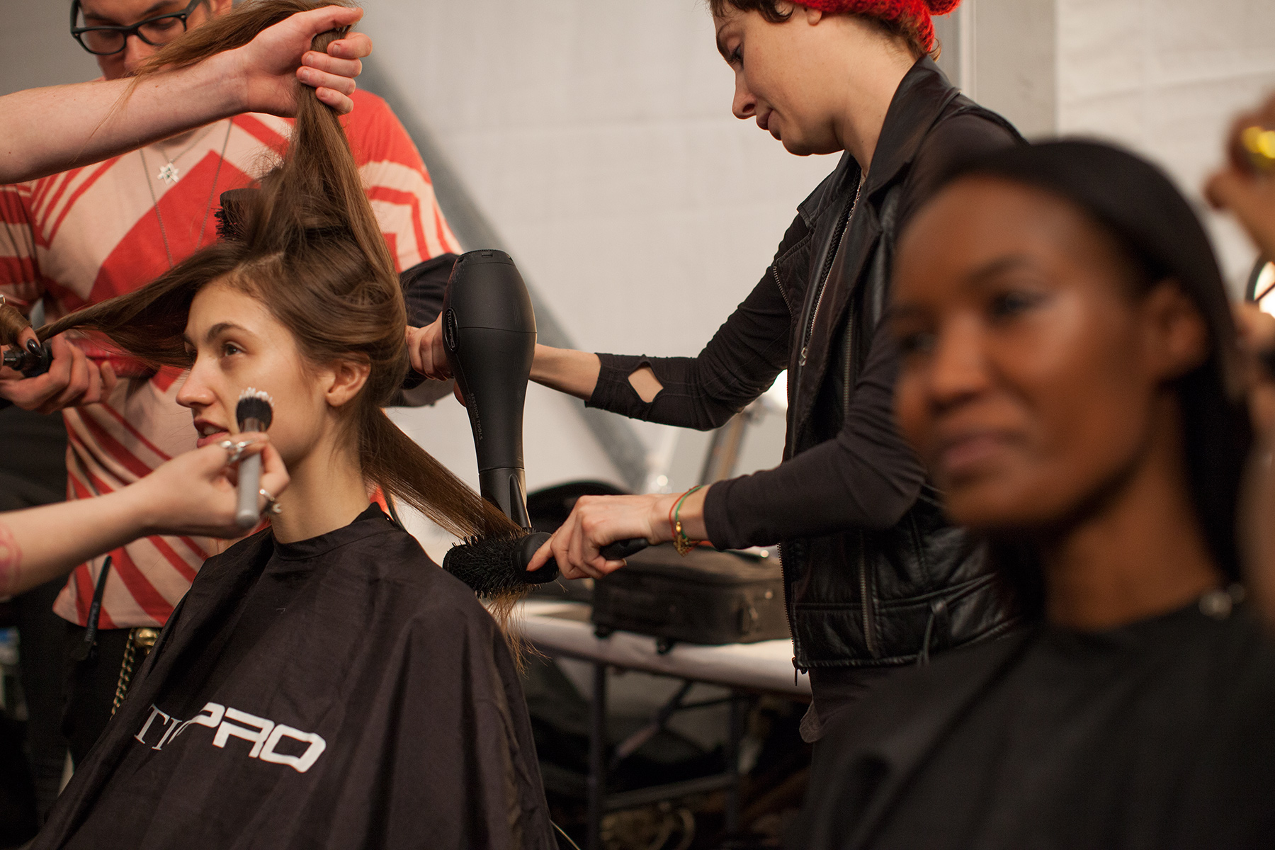 Backstage at the Mara Hoffman Fall/Winter 2014 show