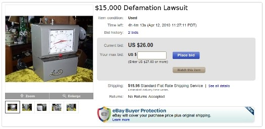Negative eBay Feedback Leads to $15,000 Lawsuit