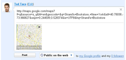 google map embedded in buzz