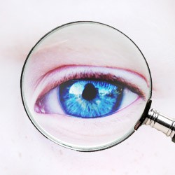 eye under magnifying glass