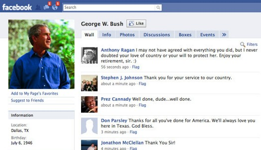 George Bush's Facebook Page