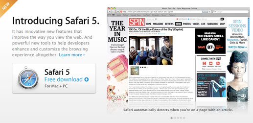 screenshot of safari 5
