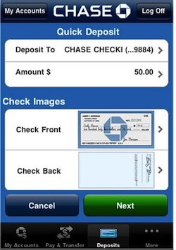 Chase iPhone Check Deposit