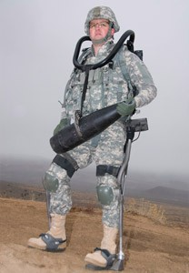 soldier wearing HULC exoskeleton