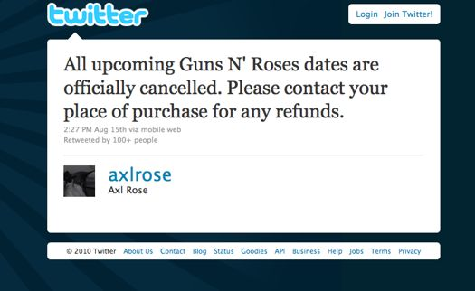 Hacker tweets false tour cancellation message on Axl Rose's Twitter account.