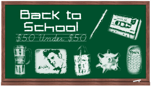 chalkboard with back to school items