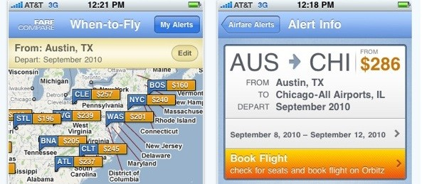New iPhone app sends push notifications when airfares drop.