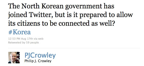 screenshot of p.j. crowley's tweet to north korea
