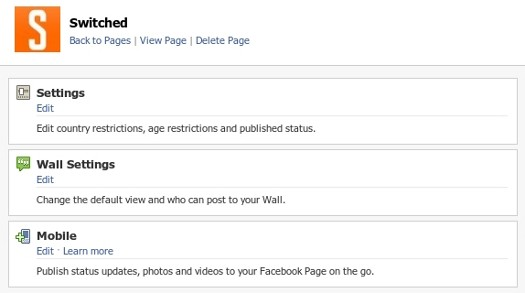 Facebook Page Settings