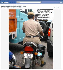 screenshot of delhi traffic police facebook page